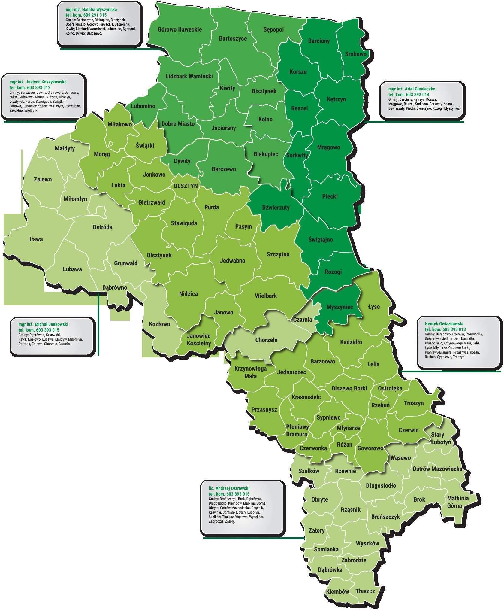 Zasięg terytorialny OSCHR w Olsztynie